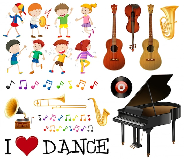 Musical instrument pack with kids singing, dancing Free Vector