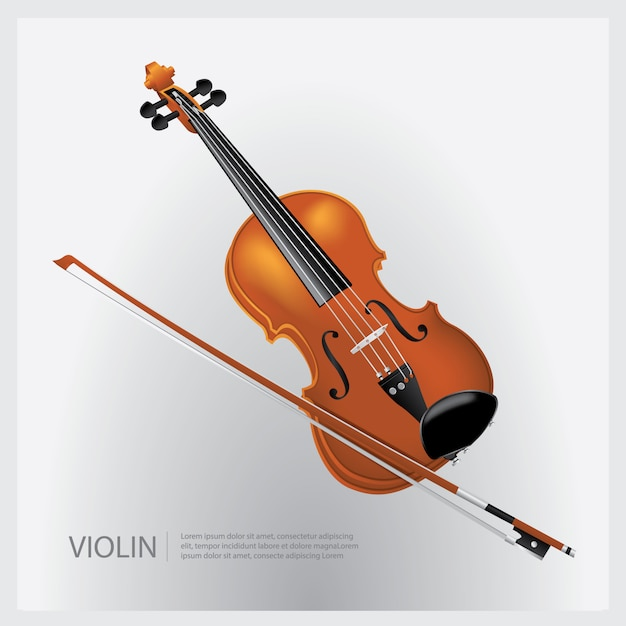 The musical instrument realistic violin with a fiddle stick vector illustration Premium Vector