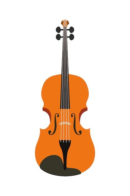 Musical instrument violin icon Premium Vector