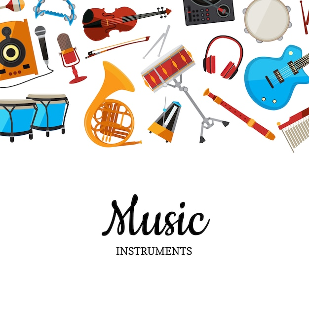 Musical instruments background Premium Vector