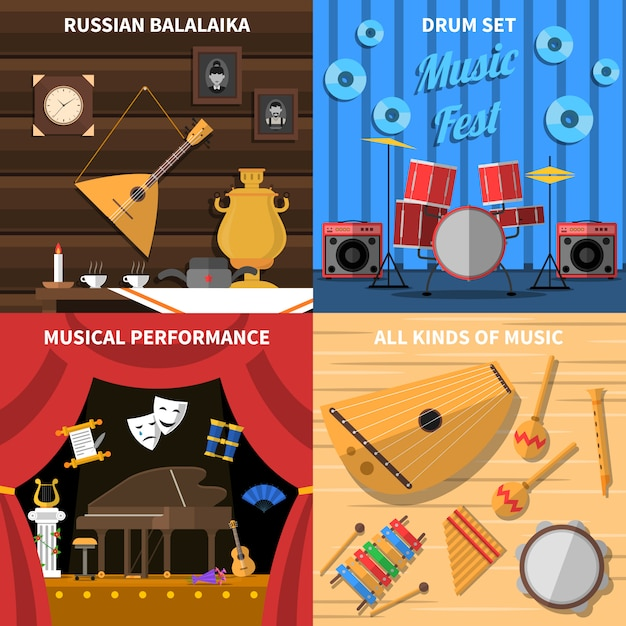 Musical instruments concept icons set Free Vector