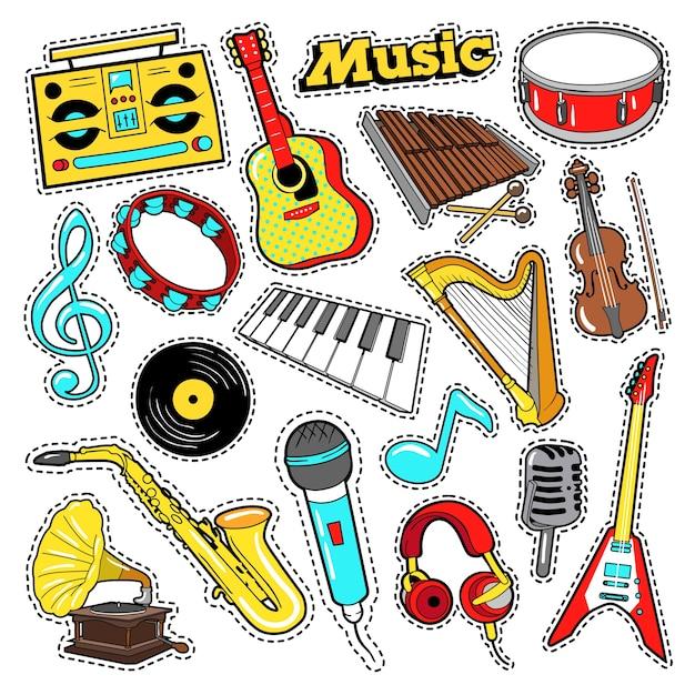 스크랩북, 스티커, 패치, 기타, 드럼 및 비닐이있는 배지 용 악기 낙서. 프리미엄 벡터