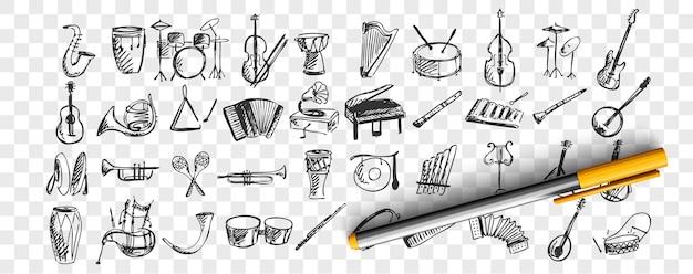 악기 세트 낙서. 투명 한 배경에 음악 악기 피아노 드럼 기타 플루트 색소폰의 패턴을 그리기 손으로 그린 스케치 템플릿의 컬렉션입니다. 예술과 창의성. 프리미엄 벡터