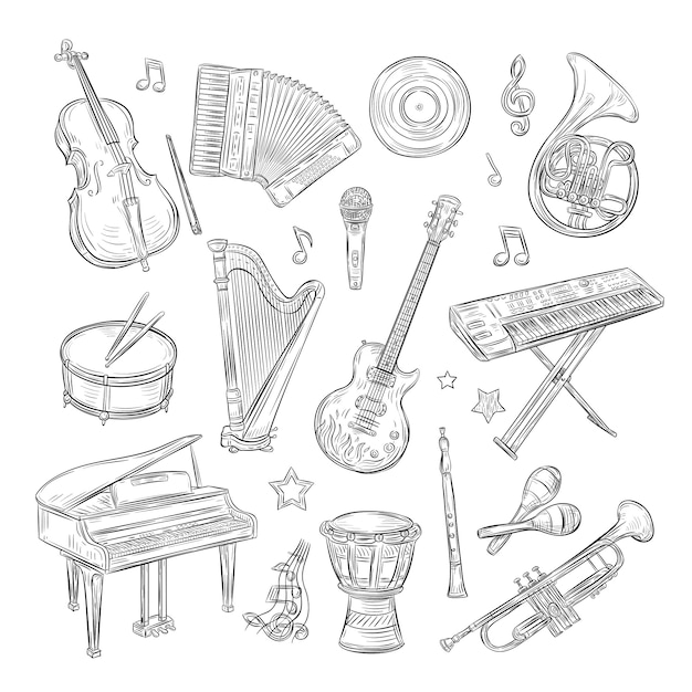 Musical instruments doodles. drum flute synthesizer accordion guitar microphone piano musical notes retro hand drawn sketch  set Premium Vector
