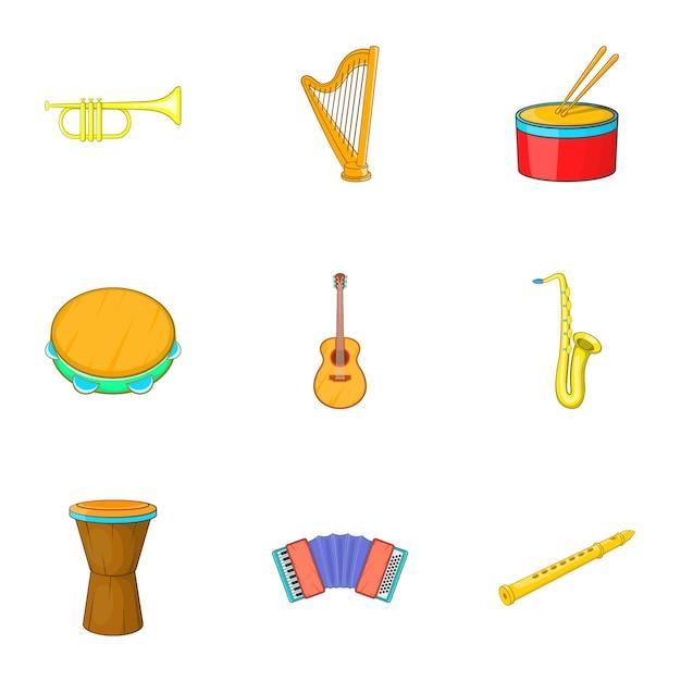 Musical instruments icons set, cartoon style Premium Vector