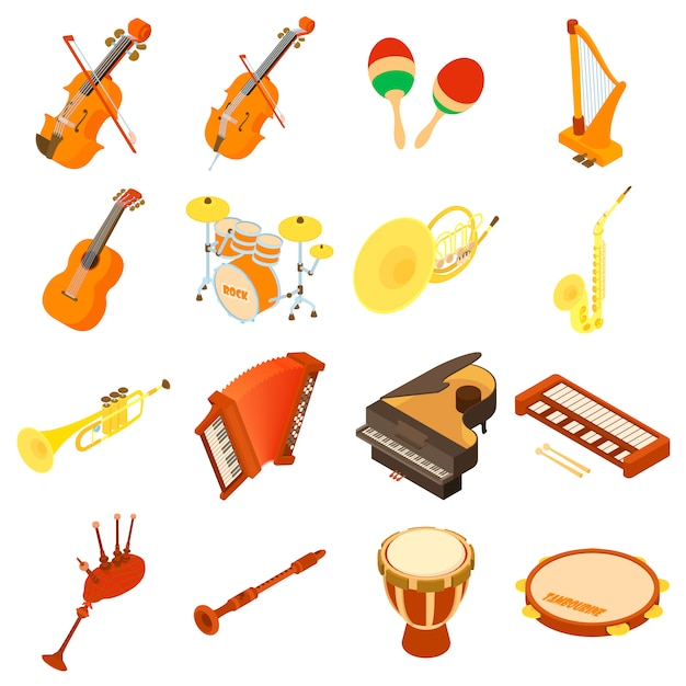 Musical instruments icons set. isometric illustration of 16 musical instruments vector icons for web Premium Vector