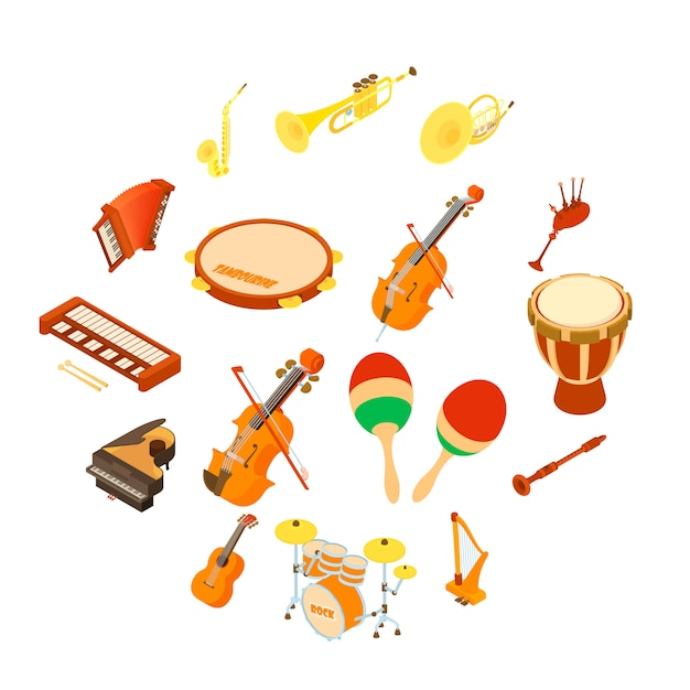 Musical instruments icons set, isometric style Premium Vector