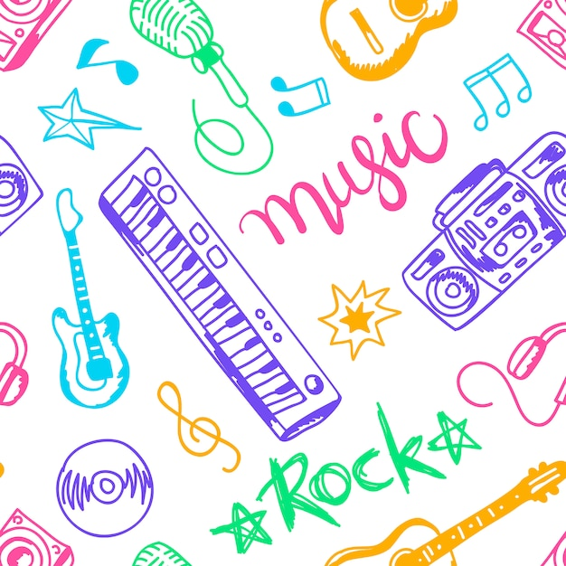 Musical instruments, illustrations flat icons and elements set seamless pattern Free Vector