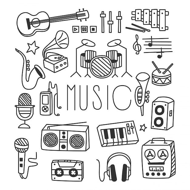 Музыкальные инструменты в стиле handdrawn Premium векторы