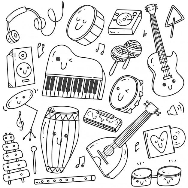 Музыкальные инструменты kawaii doodle line art Premium векторы