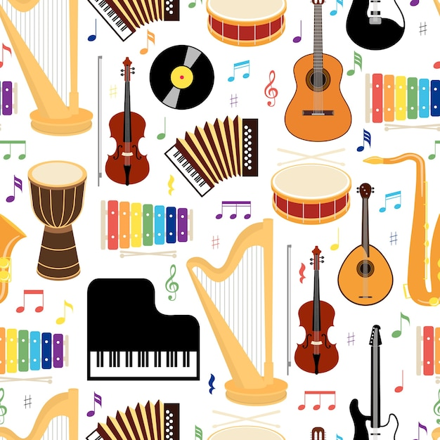 Musical instruments seamless background pattern with colored vector icons depicting drums  mandolin  guitar  keyboard  harp  saxophone  xylophone  vinyl record   violin and concertina in square format Free Vector