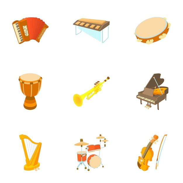 Musical instruments set, cartoon style Premium Vector