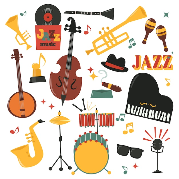 Musical instruments set with piano saxophone, microphone Premium Vector