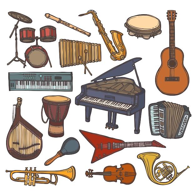 Musical Instruments Sketch Icon Vector Premium Download