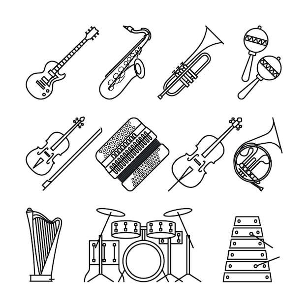 Musical instruments thin line icons Premium Vector