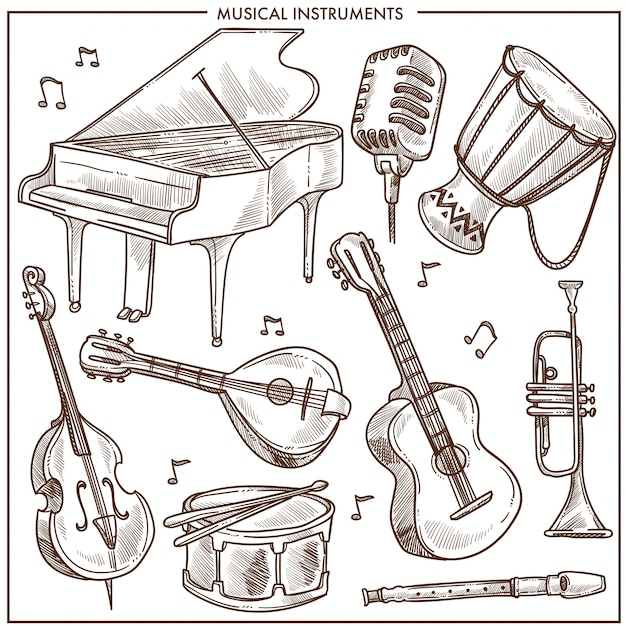 Musical instruments vector sketch icons collection for folk or jazz classical music Premium Vector
