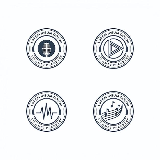 Musical logos collection Premium Vector