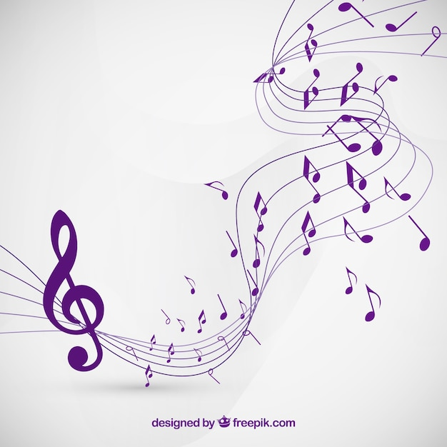 Musical notes background in purple color Vector | Free ...
