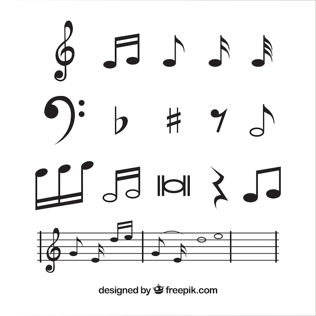 Musical notes collection in flat design Free Vector