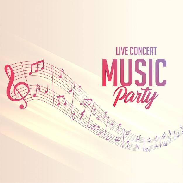 파티 이벤트를위한 음표 라인 포스터 무료 벡터