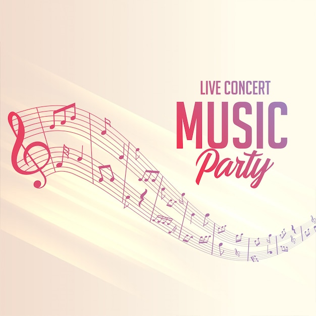 Musical notes lines poster for party events Free Vector