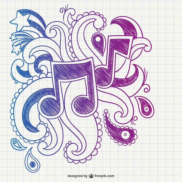 musical notes scribble vector free download