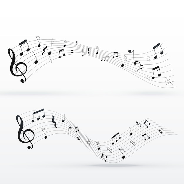 Musical notes wave background design Vector | Free Download