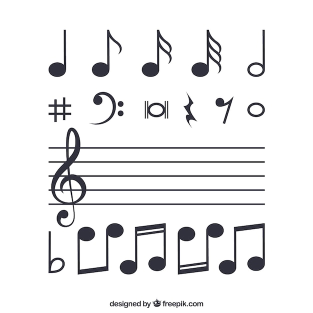 musical notes vector free download