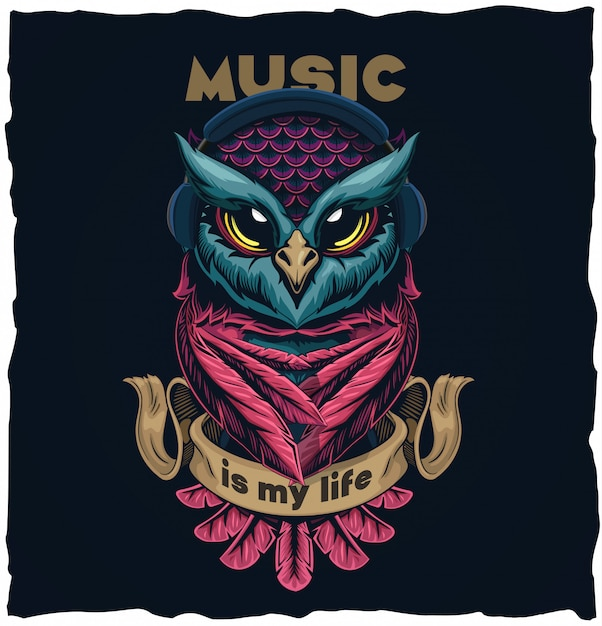 Musical owl tshirt design illustration  illustration Premium Vector