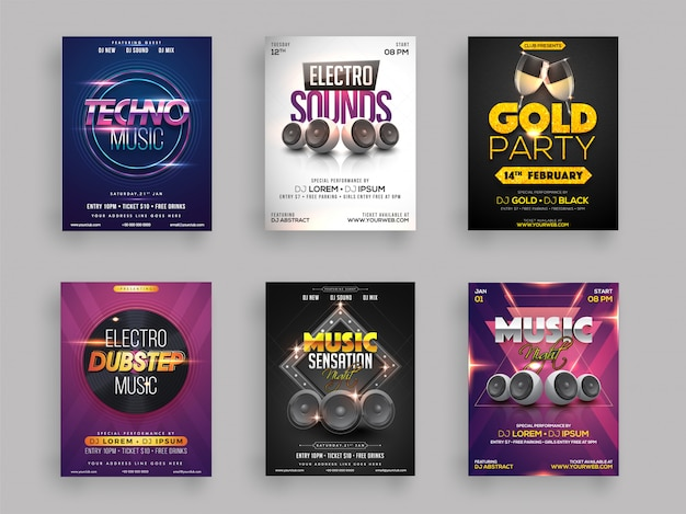 Musical party flyer or template collection Premium Vector