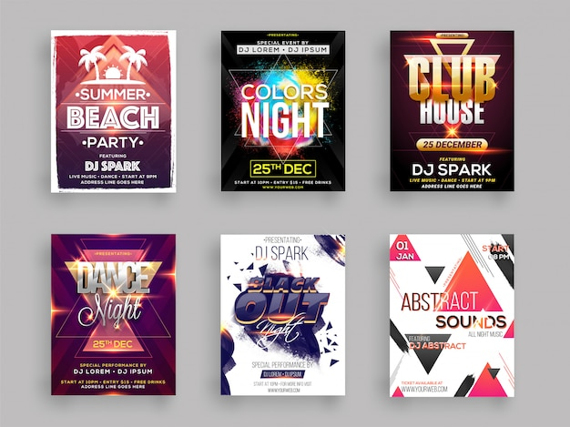 Musical party template for flyer design Premium Vector