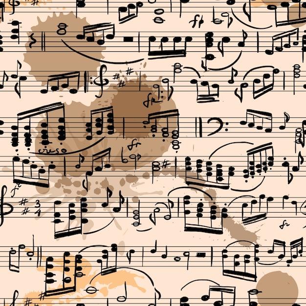 Musical score seamless Premium Vector