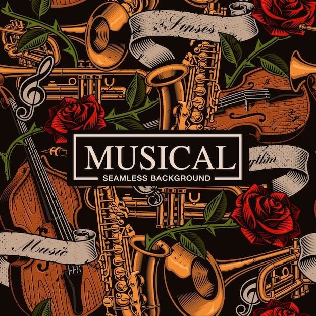 Musical seamless background in tattoo style with different musical instruments, roses and vintage ribbon. text, colors are on the separate groups. Premium Vector