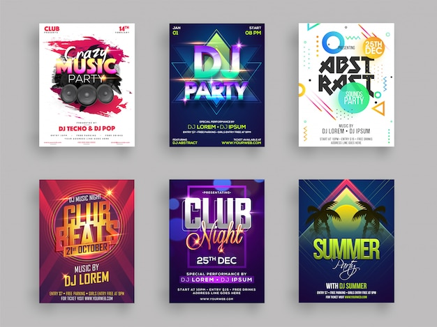 Musical or summer party flyer or poster design set Premium Vector