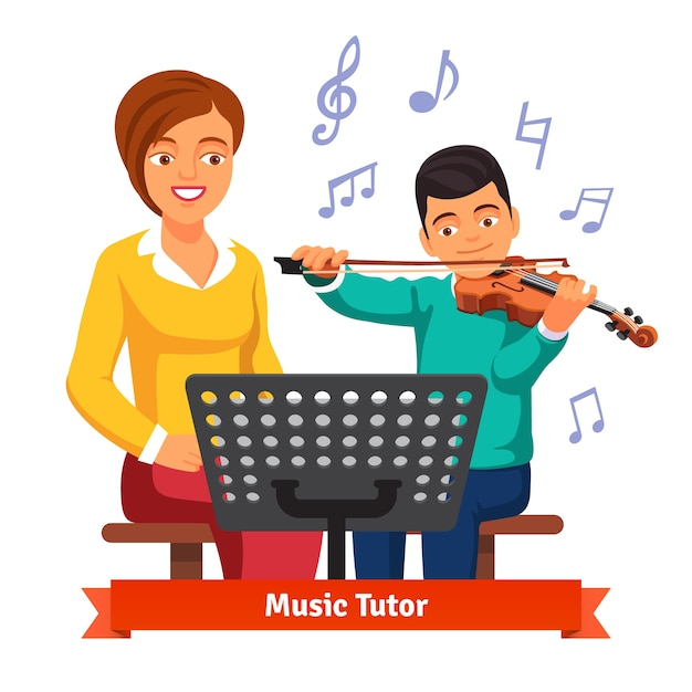Musical tutor woman with kid boy violin\ student