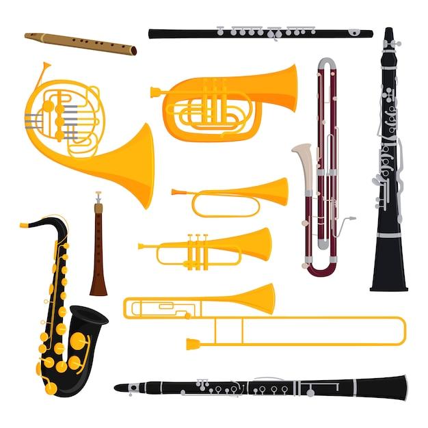 Musical Wind Instruments Set Vector Premium Download