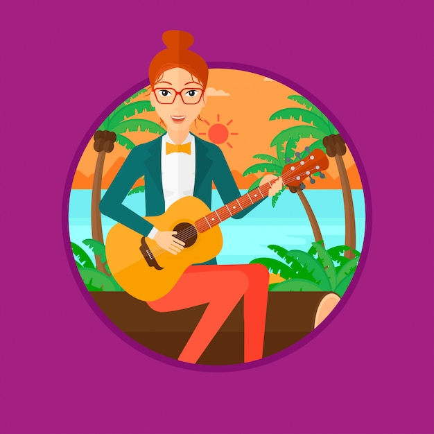 Musician playing acoustic guitar. Premium Vector
