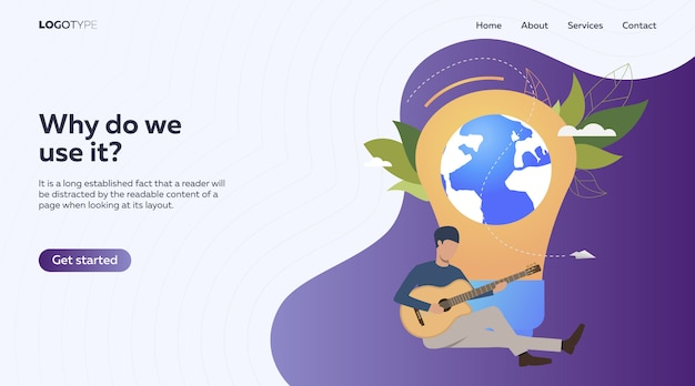 Musician playing acoustic guitar Free Vector