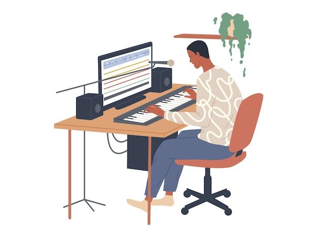 Музыкант играет на цифровом пианино и использует аудиоредактор для записи на своем компьютере. Premium векторы