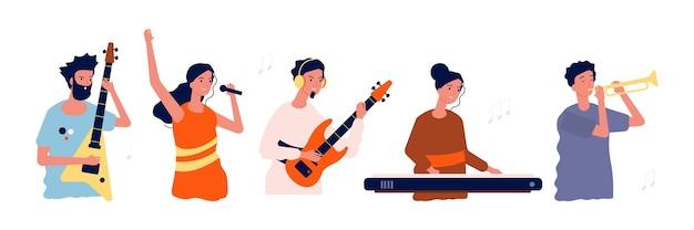 Музыканты и певцы. люди с музыкальными инструментами. Premium векторы