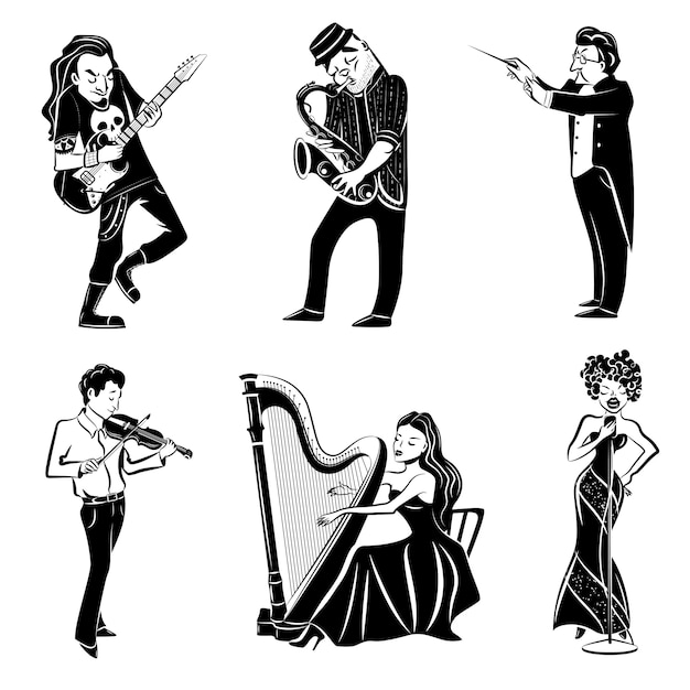 Musicians black icons set Free Vector
