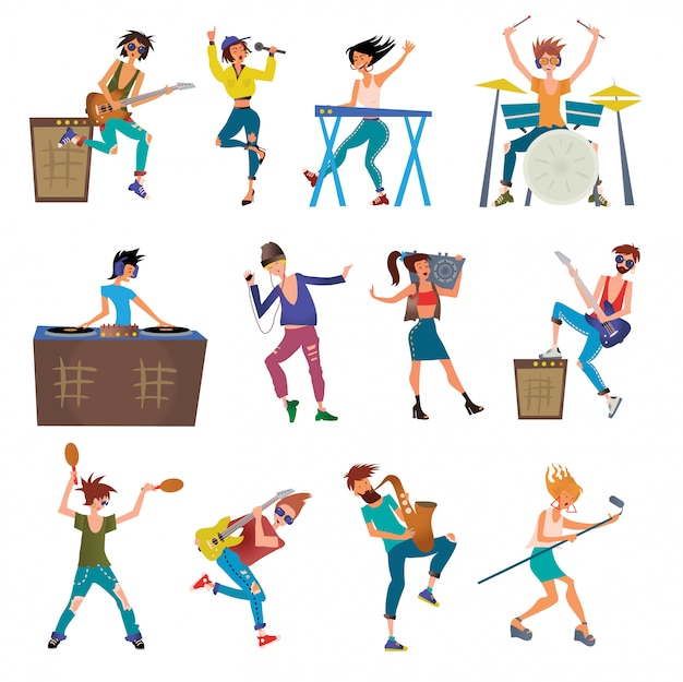 Музыканты героев мультфильмов, игра на музыкальных инструментах. Premium векторы