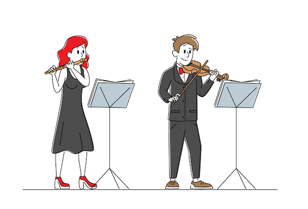 楽器を持ったミュージシャンのキャラクターがバイオリンとフルートを使ってステージで演奏します Premiumベクター