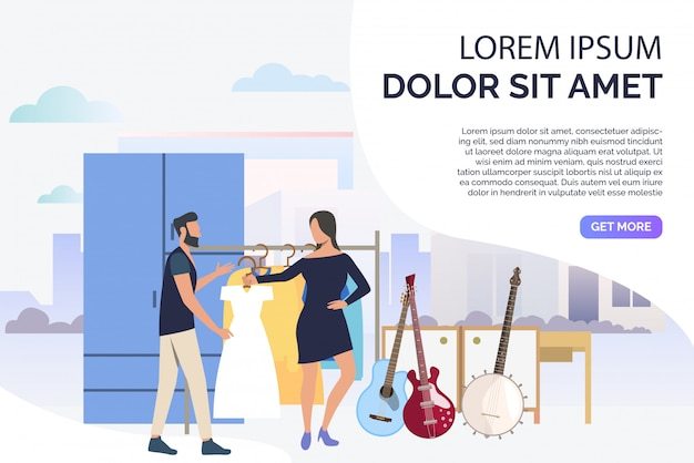 Musicians choosing clothes for concert Free Vector