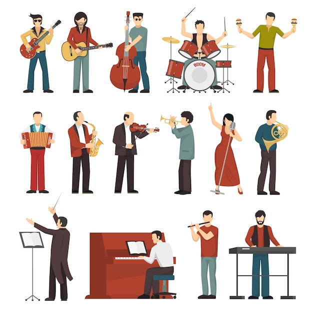 Musicians color icons set Free Vector