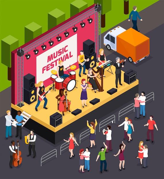 Musicians during performance on scene of music festival and dancing visitors isometric composition Free Vector