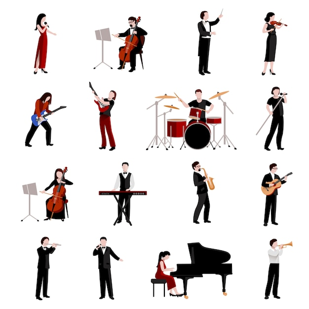 Musicians flat icons set with pianist clarinet trumpet guitar players Free Vector