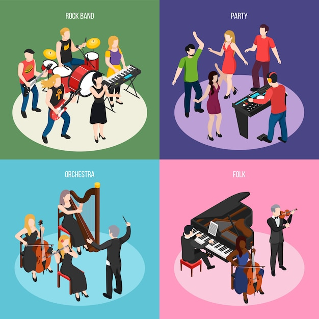 Musicians isometric concept with rock band orchestra folk music and dancing party isolated Free Vector