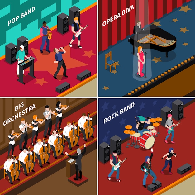 Musicians people isometric 2x2 icons set Free Vector