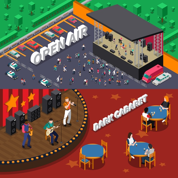 Musicians people isometric banners Free Vector
